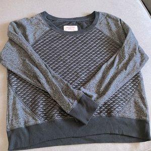 Sweatshirt Top w/Faux Leather Front